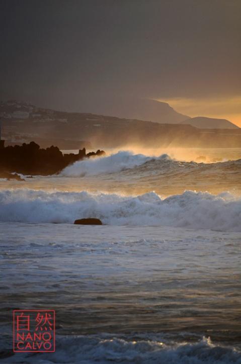 Beautiful sunset on the beach in Puerto de la Cruz