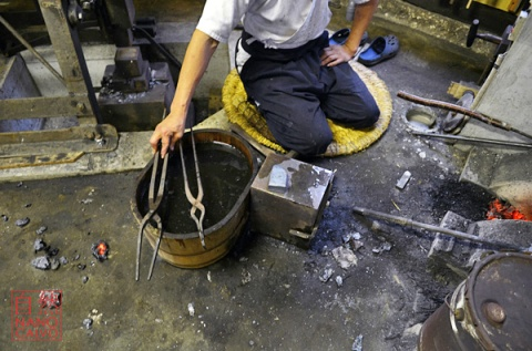 Japanese Sword Smith, Muneyasu, working at his workshop